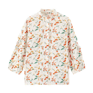 Image 5 - INMAN 2020 Autumn New Arrival Literary Stringy Selvage Stand Collar Retro Floral Falbala Three Quarter Sleeve Blouse