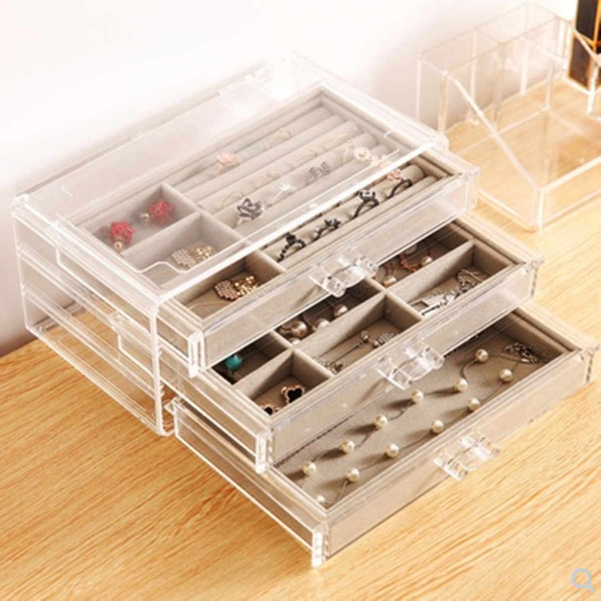 acrylic jewelry organize box  de joyas drawer womens ring holder Storage  European-Style Multi-Function