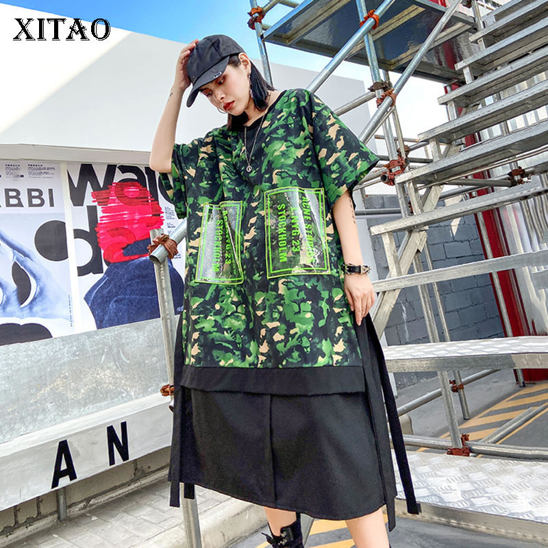 XITAO Streetwear Dress Women Plus Size Spring Summer Loose Printing Short Sleeve Dresses 2020 Tide Brand Women Clothes XJ3724