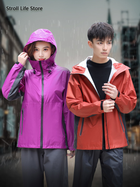 Men Rain Jacket Pants Set Raincoat Waterproof Suit Men's Electric Motorcycle Rain Coat Adult Outdoor Women's Jacket Hiking Gift 1