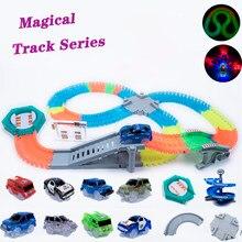 Incrível criativo mágico ferroviário pista de corrida jogo conjunto educacional diy dobrar flexível eletrônico flash luz carro brinquedos para a criança