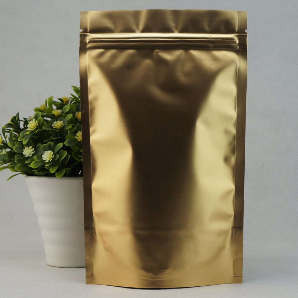 100PCS Matte Printed Golden Aluminum Foil Self-supporting Ziplock Bag, Coffee Bean Bag, Powder Bag