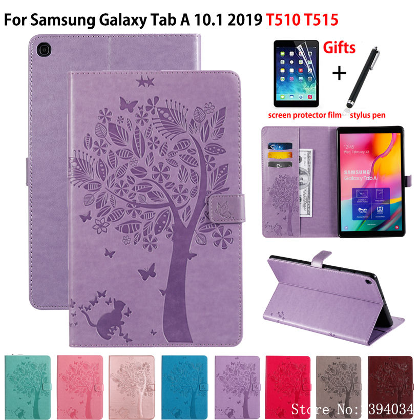 Case For Samsung Galaxy Tab A 10.1 2019 T510 T515 SM-T510 SM-T515 Cover Funda Tablet Cat Tree Pattern Flip Stand Shell +Gift