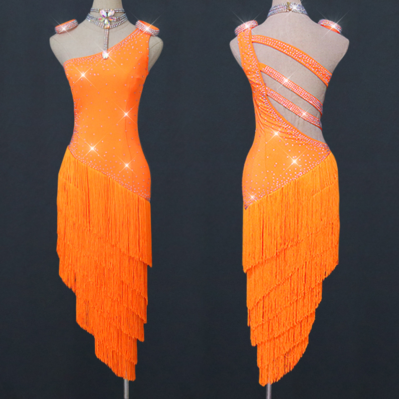 New Latin Dance Orange Fringe Dress Customized Competition Tassels Dancing Dress Party Dress Performance Outfit Latin BL2559