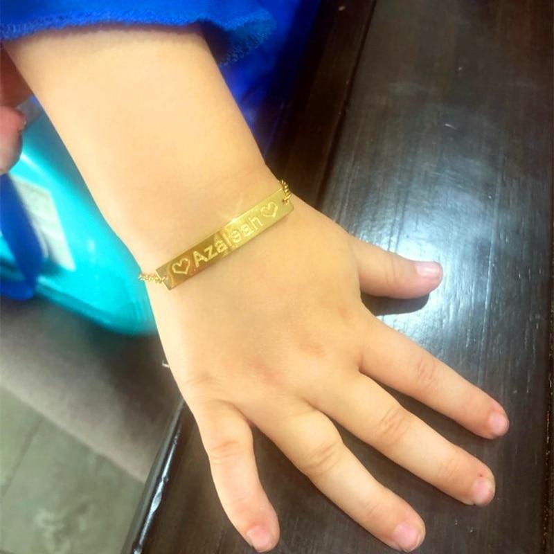New Baby Name Bracelet Custom Long Bar Engraving Bracelet Heart Star Moon Flower Constellation Anchor Kids Children First Gifts