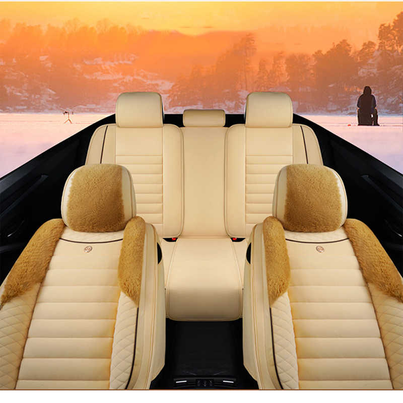 Evrensel yün araba koltuk minderi kış sıcak araba klozet kapağı için mitsubishi pajero 4 2 spor outlander xl asx aksesuarları lancer