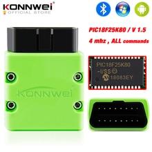 KONNWEI ELM327 V1.5 OBD2 tarayıcı KW902 Bluetooth Autoscanner PIC18f25k80 MINI ELM 327 OBDII KW902 kod okuyucu Android telefon için