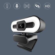 4k foco automático webcam hd webcam com luz de preenchimento rotatable computador portátil câmera web pc com microfone para youtube vídeo
