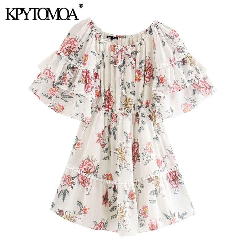 KPYTOMOA Women 2020 Chic Fashion Floral Print Ruffled Chiffon Mini Dress Vintage Slash Neck Short Sleeve Female Dresses Vestidos