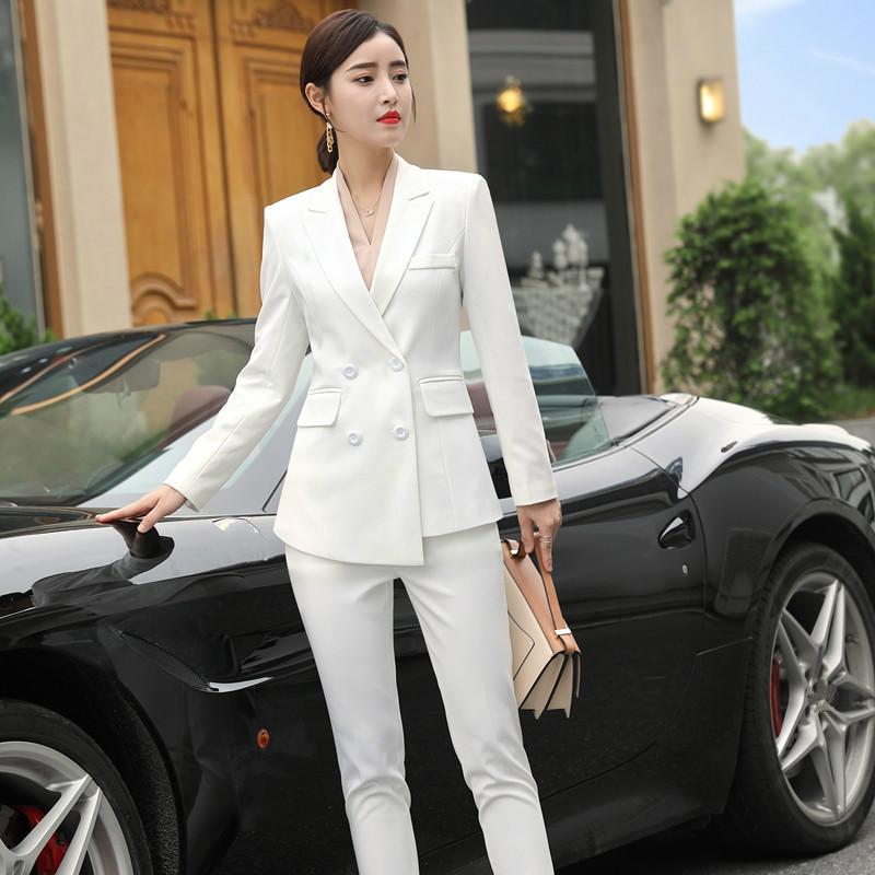 High quality women's suits white pants suit 2019 autumn and winter slim double breasted jacket blazer Female office wear