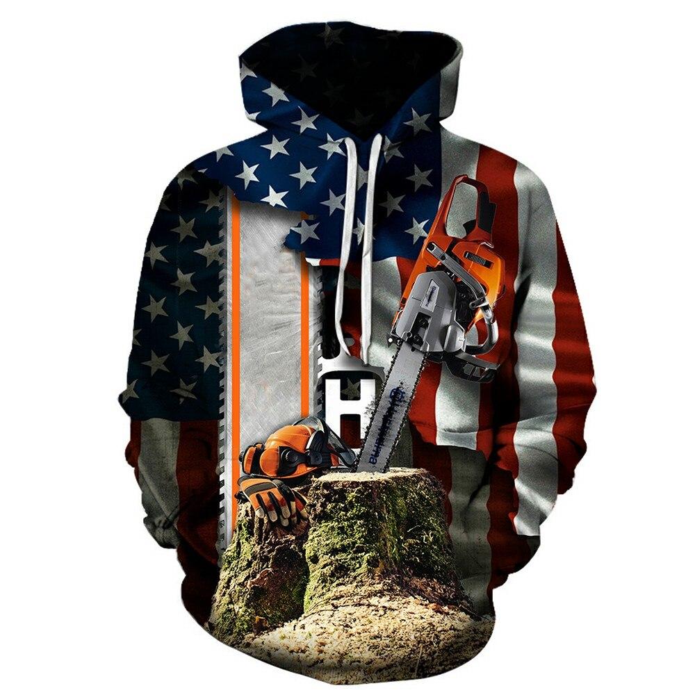 Cool Fashion 3D Print Hoodies Funny Unisex Hoodies Lumberjack Job Print Hotstyle Pullover Sleeve Streetwear Sweatshirt Hoodie
