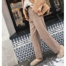 MISHOW 2019 Otoño Invierno pantalones de lana Mujeres Nuevo causal alta cintura Pantalones rectos térmicos MX18D2563