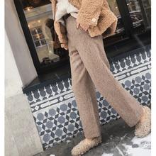 Mishow 2019 outono inverno woolen calças femininas nova causal de cintura alta térmica calças retas mx18d2563