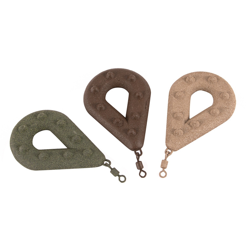 Carp Fishing Flat Pear Leads Dark Sinker Muddy Smooth Casting Pear Lead Weights With Swivel Fishing Lead Sinker Fishing Tackle 8