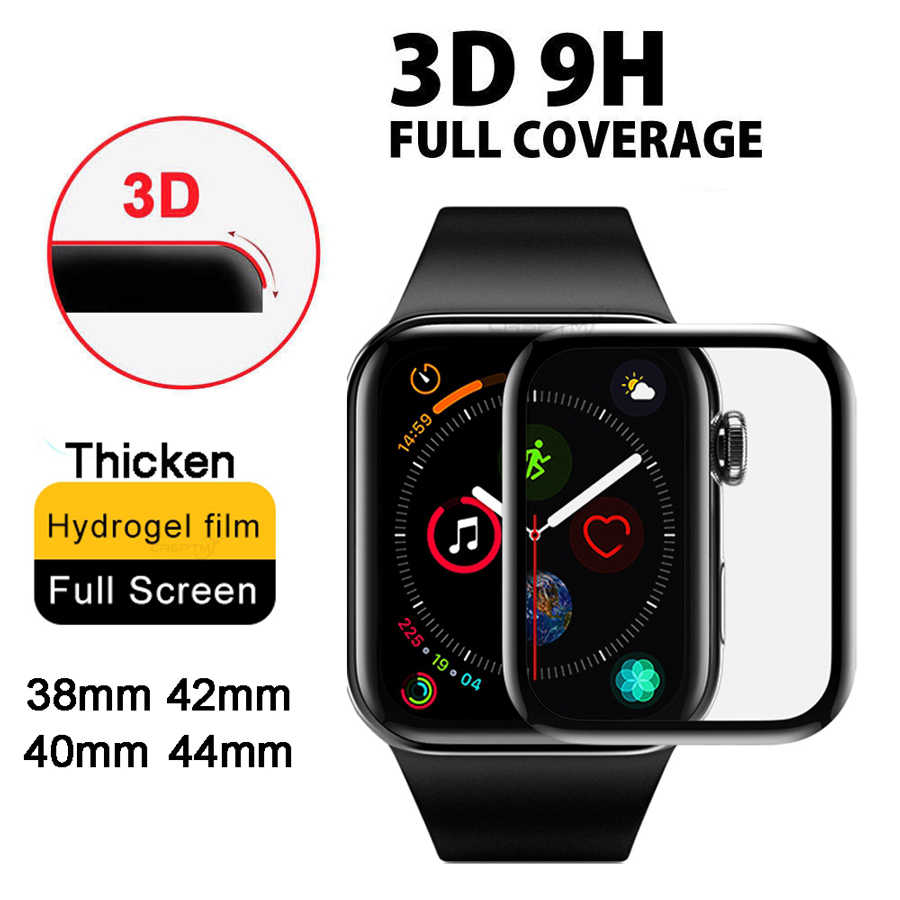 3D Screen Protector Full Cover Edge Film Pelindung untuk IWatch 4 5 40 Mm 44 Mm Tidak Tempered Glass untuk apple Watch 3 2 1 38 Mm 42 Mm