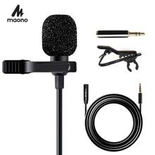 MAONO yaka mikrofon ile 6M uzatma kablosu kondenser mikrofon Handsfree Clip on iPhone Android Smartphone DSLR kam