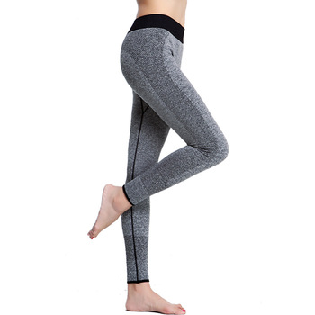 Sport Women Gym Leggings Fitness Exercise Running Yoga Pants Workout Trousers Grey Stretchy Tights image