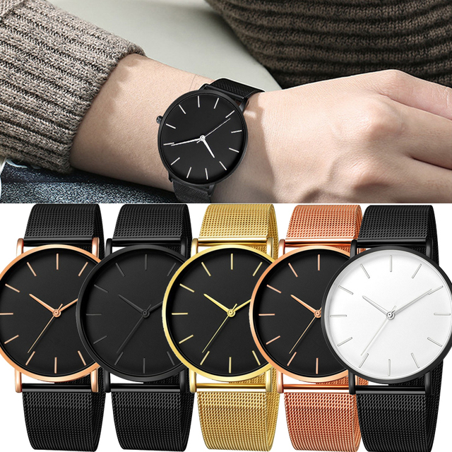 Minimalism Arrival Men Watch Mesh Band Stainless Steel Analog Quartz Wristwatch Simple Unisex Business Low profile Silver Gift