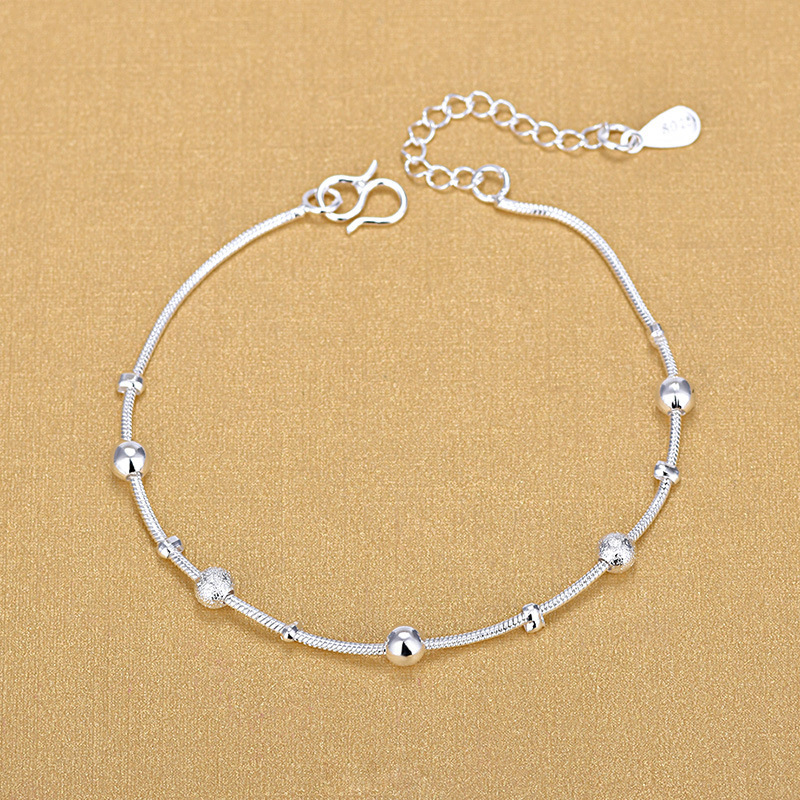 High Quality Silver Snake Chain Jewelry Bracelet 925 Sterling Silver Big Small Beads Beaded Bracelets 2020 Gift