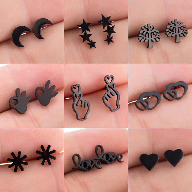Jisensp Stainless Steel Star Moon Earrings Love Heart Stud Earrings for Women Kids Small Animal Ear Studs Piercing pendientes