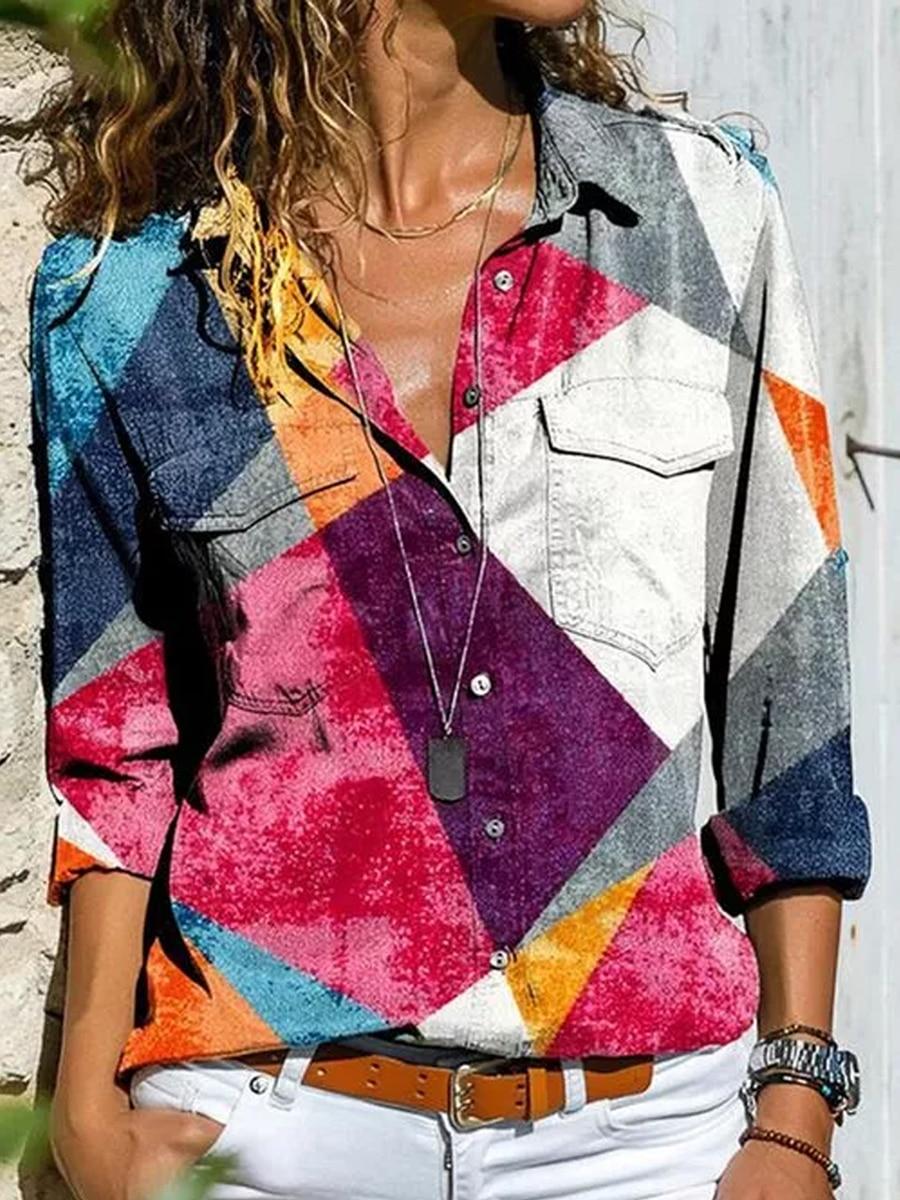 Fashion long-sleeved women's shirt casual printing plus size shirt ladies top 2