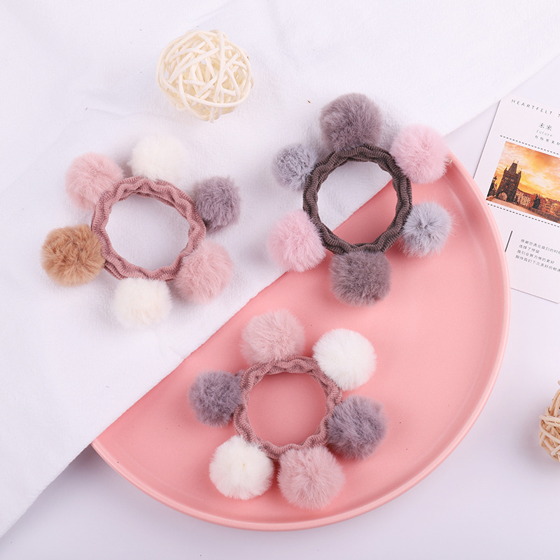 Cute Pom Pom Hair Wool Ball Thick Elastic Rubber Hair Bands Kids Girls Ponytail Holder Hair Accessories Wholesale Gift Korean