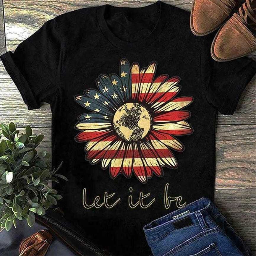 Hippie Sunflower America Let It Be T Shirt Black Cotton Men S-6Xl Us Supplier Vintage Graphic Tee Shirt