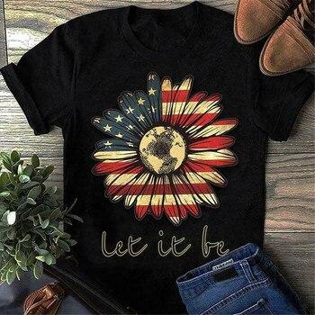Hippie Sunflower America Let It Be T Shirt Black Cotton Men S-6Xl Us Supplier Vintage Graphic Tee Shirt
