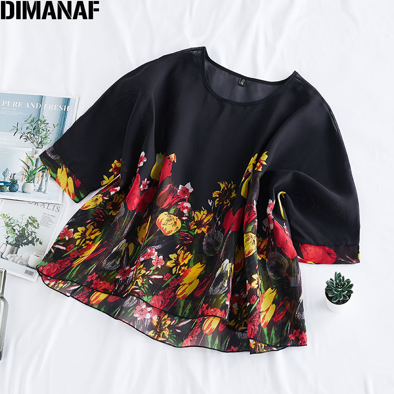 DIMANAF Plus Size Women Blouse Shirt Elegant Lady Tops Tunic Chiffon Floral Print Thin Oversize Female Clothing 2020 Summer New