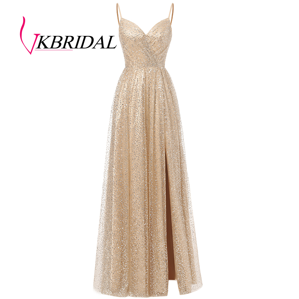 Vkbridal Gold Sequin Prom Dresses 2020 New Sparkly High Slit Graduation Dress Spaghetti Strap Homecoming Party Gowns Long