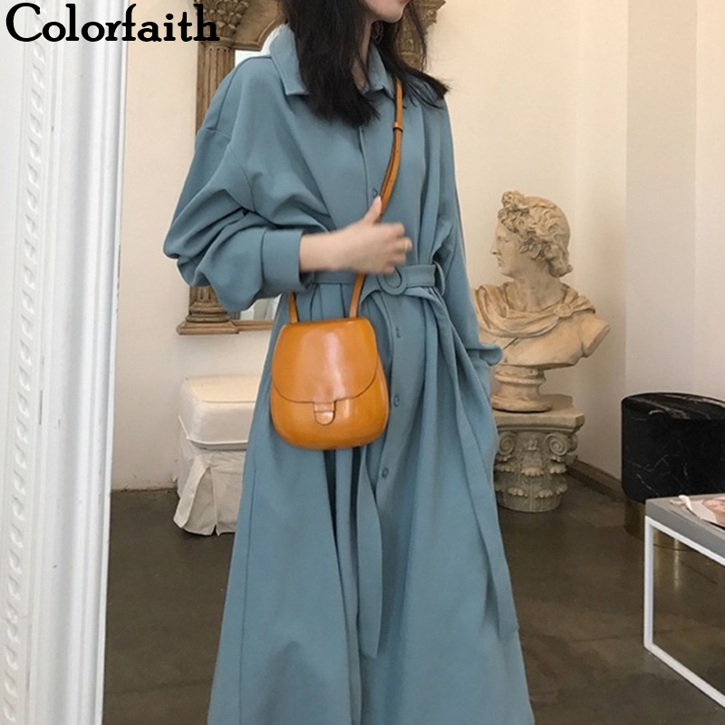 Colorfaith New 2019 Autumn Winter Women Dresses Sashes Fashionable Prairie Chic Elegant Casual Midi Solid Shirt Dress DR512
