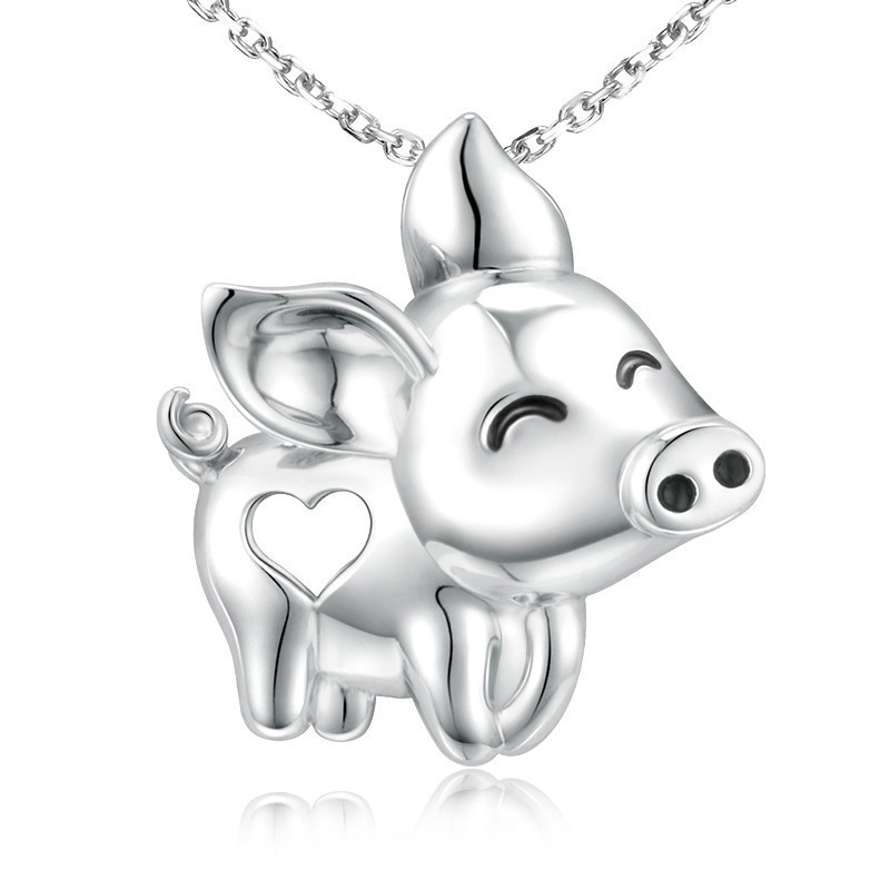 Strollgirl 925 Sterling silver Cute Flying Pig Pendant Chain Necklace with heart for Women Fashion Jewelry gifts free shipping