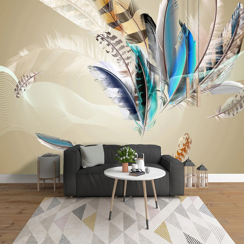 Custom Photo Mural Wallpaper Home Decor Modern Colored Feather Living Room Study Room Bedroom TV Background Wall Painting Art 3D