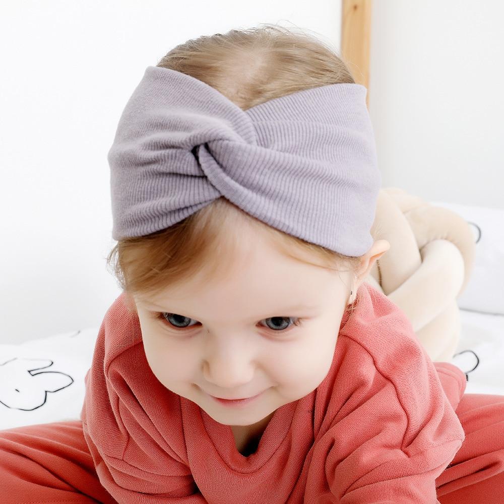 Solid Color Girls Winter Autumn Headband Twisted Knotted Soft Elastic Baby Girl Soft Elastic Turban Twist Headband Headwear