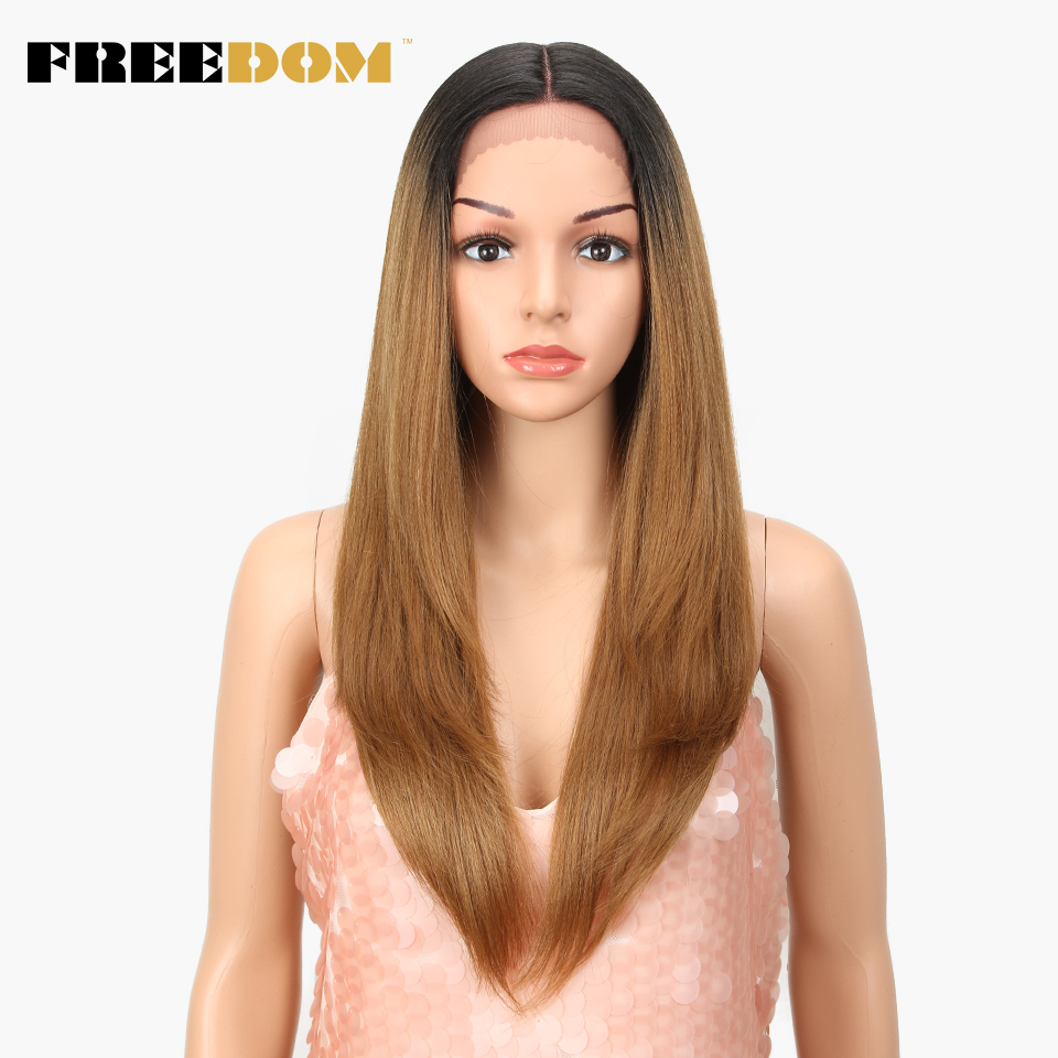 FREEDOM Synthetic Lace Front Wig Heat Resistant Silky Straight Dark Roots Blonde Red Natural Hairline Cosplay Hair For Women