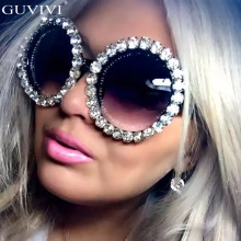 Oversized Round Diamond Sunglasses Women Trend Brand Crystal Sun Glasses Ladies Men Rhinestone Eyeglasses Oculos De Sol Feminino