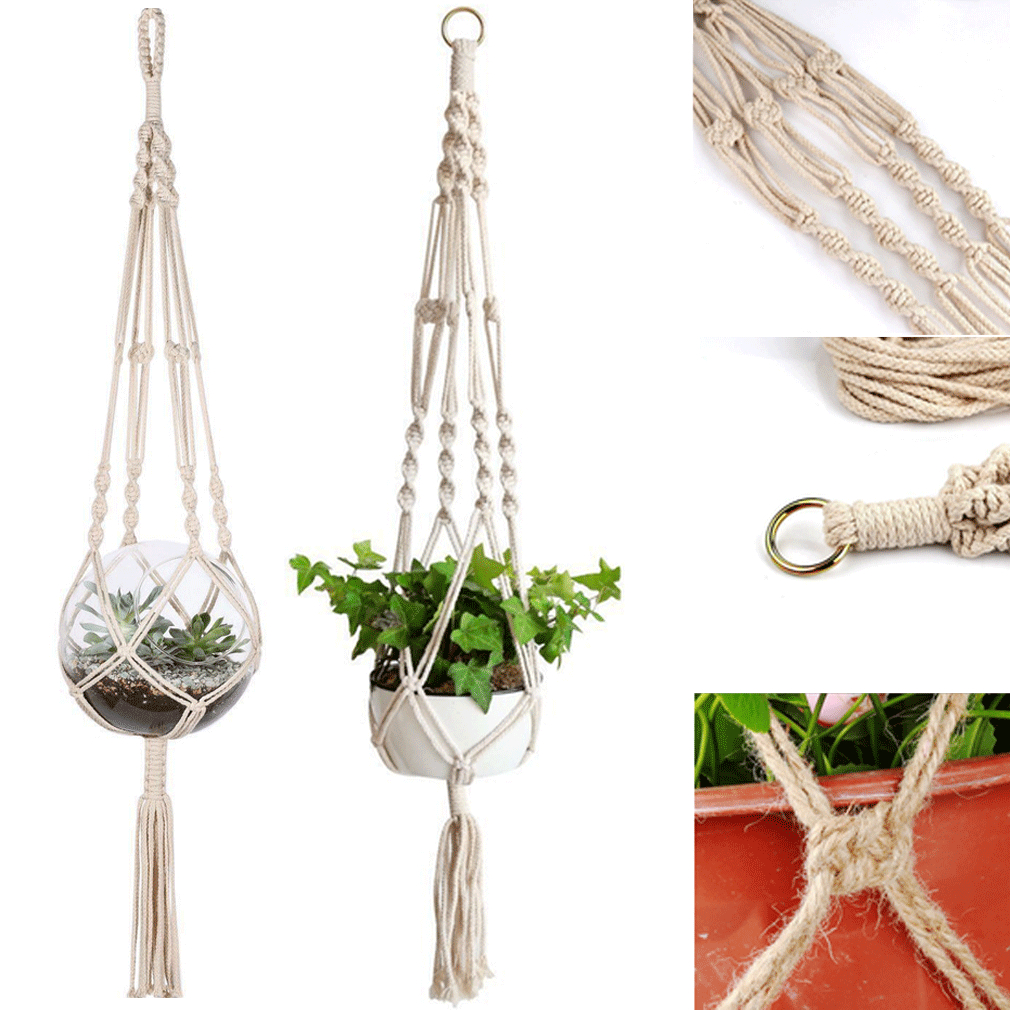 Rope Planter-Basket Pot Craft Flowerpot-Plant-Holder Hanging Vintage-Decor Braided Jute title=