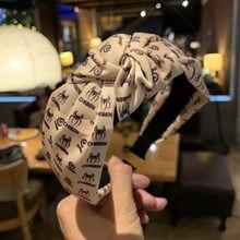 Корейский новый узор, простая буква, сплошной цвет, узел посередине, широкая повязка для волос, повязка на голову, женские модные аксессуары ...
