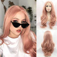 Baicheng Pink Lace Front Wigs for Party Fashion Cute Baby Pink Long Wavy Hair Synthetic Beautiful Wig for Women Mixed Color