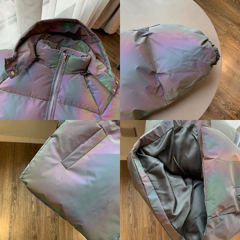 Jaqueta de inverno masculino grosso arco íris reflexivo casacos parka casaco moda jovem hip hop solto jaqueta streetwear outwear roupas masculinas - 6