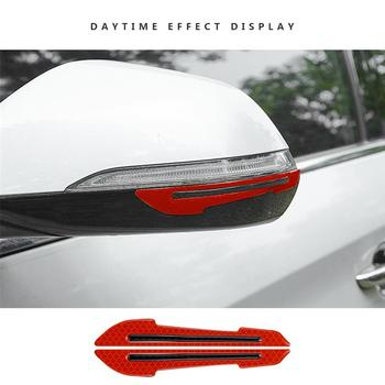 2pcs Car 3D Reflective Strip Rearview Mirror Protector Sticker Door Side Mirror Reflective Guard Decal image
