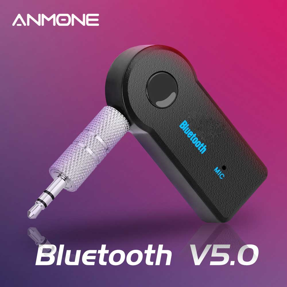ANMONE Bluetooth Adapter 3.5mm Wireless Car Bluetooth Receiver Aux Port Bluetooth Audio Music Speaker Adapter USB 5.0 Converter