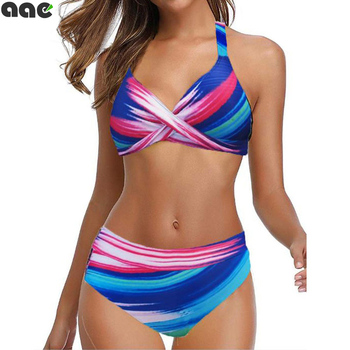 2020 Plus Size 5XL Women High Waist Swimwear Sexy Bikini Fission Two Piece Swimsuit  Fashion Swimming Suit Wave Point Tankini women s active high waist wave point culotte