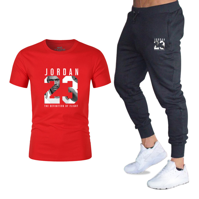Summer Causal Set 2 Piece Set Men Set Top Tee Sweatpants Mens Outfits Summer Gym Fitness T-shirt Tracksuit Male Set Streetwear