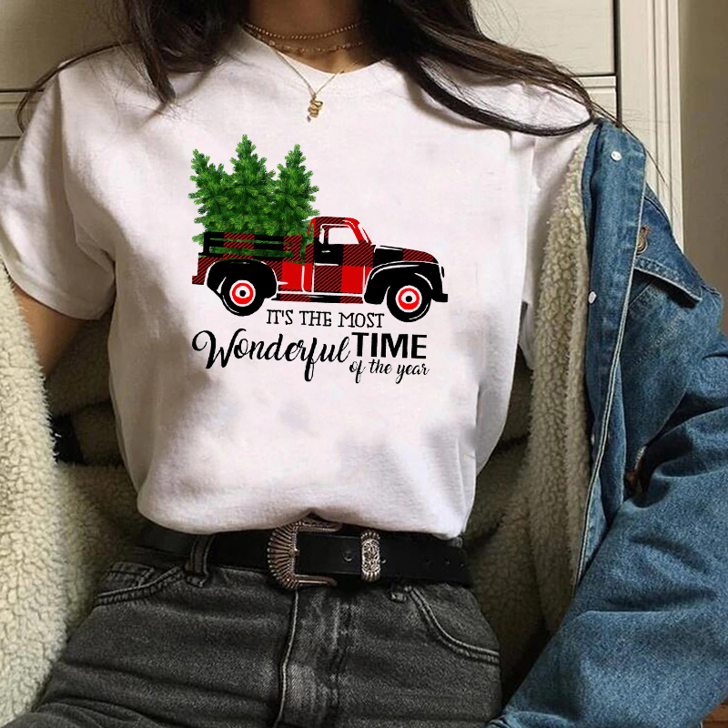 Womens Plaid Truck Tree Print Christmas Tree New Year   T  -  shirt   Female Graphic   T   Tee   Shirt   Camisas Mujer Tshirt Women Tops