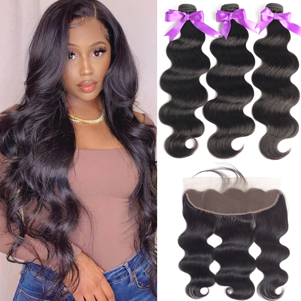 Bundles With Frontal Closure Human Hair Brazilian Hair Weave Bundles 13x4 Lace Frontal With Bundles Body Wave Non Remy Hair 30
