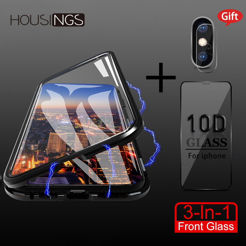 Metal <font><b>Magnetic</b></font> Adsorption <font><b>Case</b></font> For <font><b>iPhone</b></font> XR 7 <font><b>8</b></font> 6s Plus XS XS Max Screen Protector Tempered Camera Lens Film Glass Magnet Cover image
