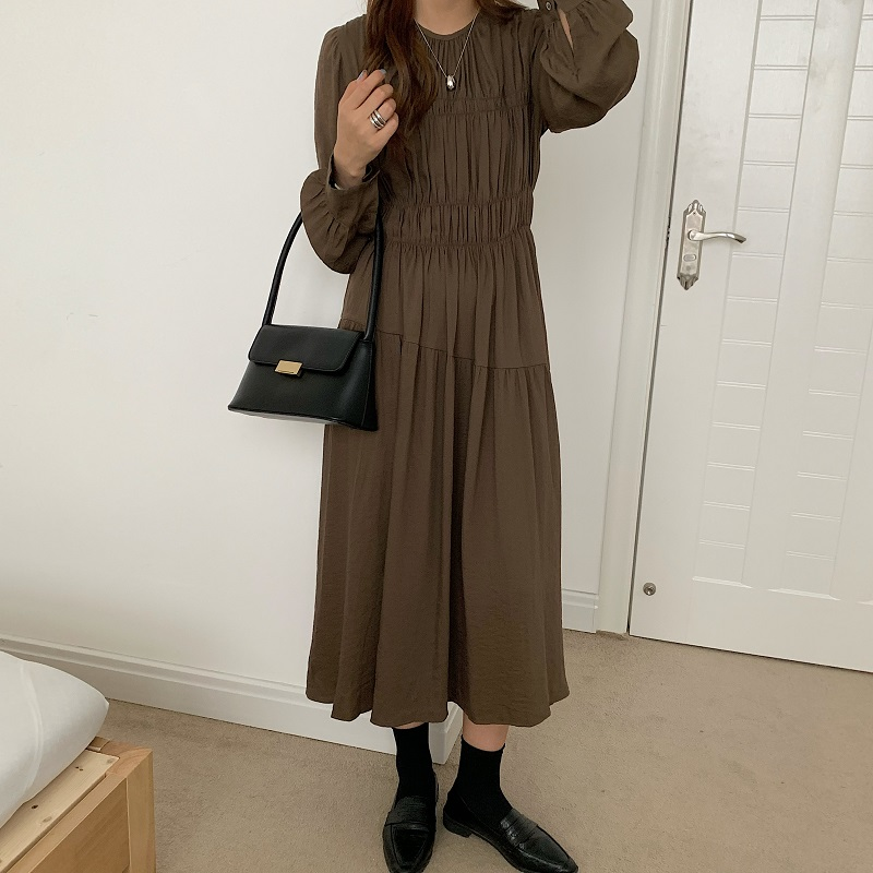 H9acf4ba848804422b6daff1dcb860844S - Autumn Korean O-Neck Long Sleeves Minimalist Solid Midi Dress