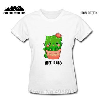 Free Hugs Summer Women T-shirts Cat Cactus Letter Print Tops Casual Harajuku Kawaii Funny Tee Shirts Female Cotton Tshirt Kids