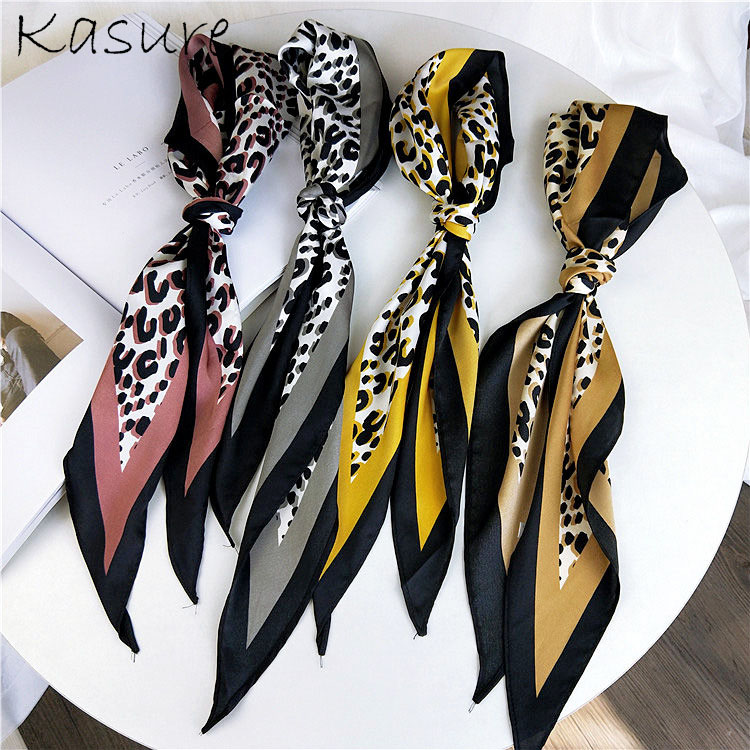 Kasure Women Fashion Ribbon Silk Scarf Leoparpd Pattern Printed Neckerchief For Women Girls Hair Band Bag Handle Wraps
